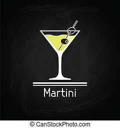 verre, cover., martini, illustration, menu