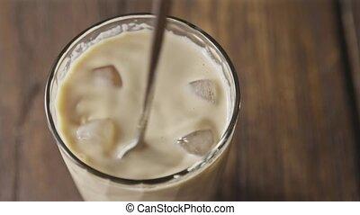 verre., cubes glace, fait maison, mélange, cocktail, café