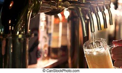 verre, débordement, beer.