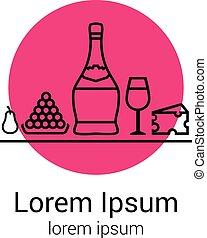 verre, dégustation, chianti, illustration, ton, poire, dîner, icons., raisins, fête, logo, bouteille, ou, fromage