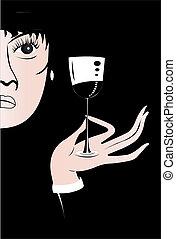 verre, dame, vin