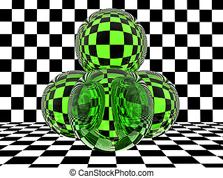 verre, damier, sphères