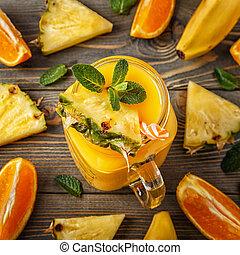 verre, de, smoothie, à, fruit, sélectif, foyer.
