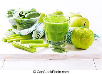 verre, de, vert, jus, à, pomme, et, épinards