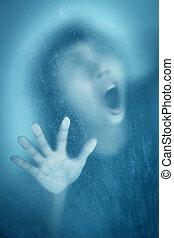 verre, derrière, femme, crier, fenêtre