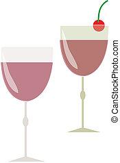verre, deux, cocktail