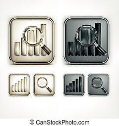 verre, diagramme, magnifier, icônes