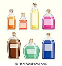 verre, divers, bottles.