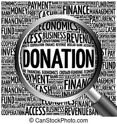 verre, donation, mot, magnifier, nuage