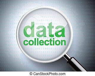 verre, données, mots, collection, magnifier