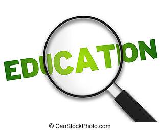 verre, education, -, magnifier