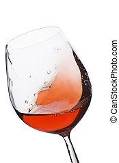 verre, en mouvement, vin rouge