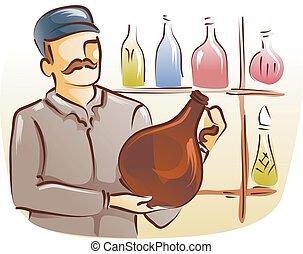 verre, encaisseur, bouteille, homme