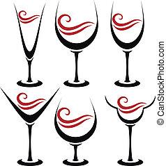 verre, ensemble, alcoolique