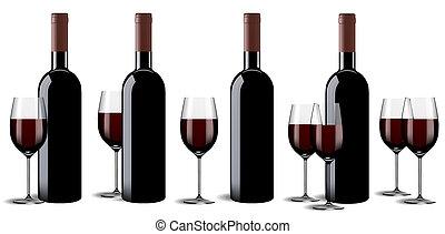 verre, ensemble, bouteille, vin