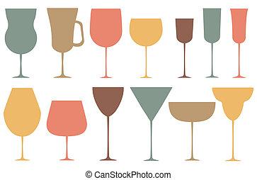 verre., ensemble, noir, alcoolique