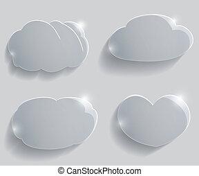 verre, ensemble, nuages