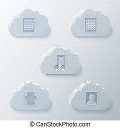 verre, ensemble, nuages, icônes