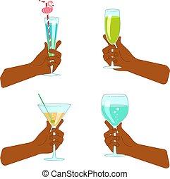 verre, ensemble, tenant main