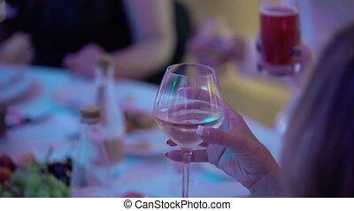 verre, femme, jeune, champagne
