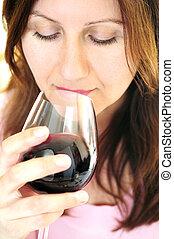 verre, femme, rouges, mûrir, vin