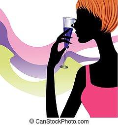 verre, femme, silhouette, vin
