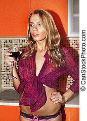 verre, femme, vin, rouges, sexy