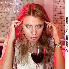 verre, femme, vin, rouges, triste