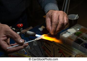 verre, figurines, ventilateur, miniature, maître, fabrique