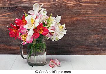 verre, fleurs, pot, alstromeria