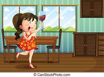 verre, girl, tenue, vin