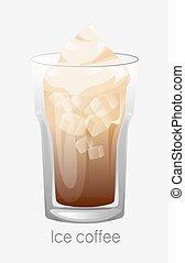 verre., glace, épais, brun, café, cubes, latte, foam., cappuccino