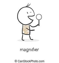 verre, homme, dessin animé, tenue, magnifier