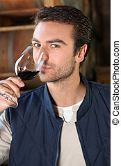 verre, homme, inclinable, vin