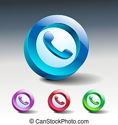 verre, icônes, téléphone, téléphone, conversation, vert