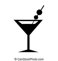 verre, icon., silhouette, martini
