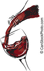 verre, illustration, vin