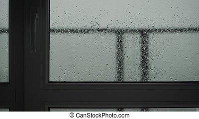 verre., intérieur, cadre, pleuvoir, par, haut, gouttes, ...