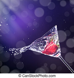 verre, irrigation, boisson, martini, dehors