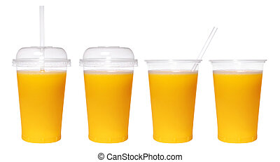 verre, isolé, jus, fond, orange, frais, blanc, transparent