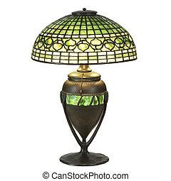 verre, lampe, feuille, lierre, table