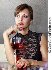 verre, ll, femme, vin