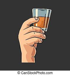 verre, mâle, tenue, rum., main