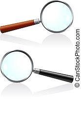 verre, magnifier, ensemble