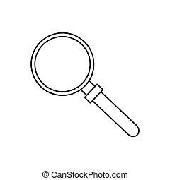 verre, magnifier, icône