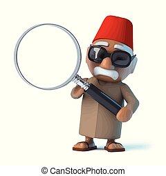 verre, magnifier, marocain, 3d