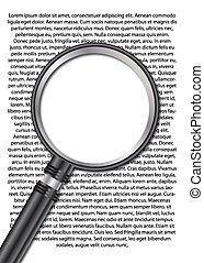 verre, magnifier, texte