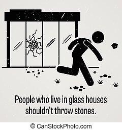 verre, maisons, sho, vivant, gens