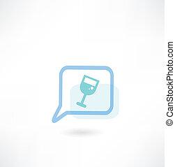 verre, message, vin, icône