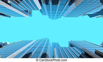verre, moderne, gratte-ciel, illustration, 3d